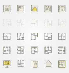 apartment plan colorful icons vector image