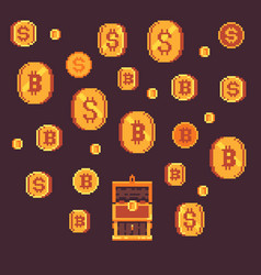 Bitcoin and golden coints with open chest pixel vector