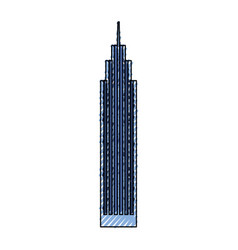 Blue skyscraper cartoon vector
