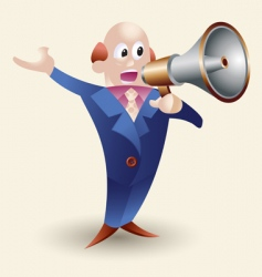 cartoon man with megaphone vector image vector image