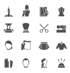 Clothes designer icons black vector