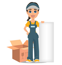 Courier woman standing near opened box and vector