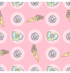Funny candy cartoon doodle pattern with ice cream vector image vector image