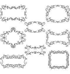 Hand-drawn flourish swirl border frame swirls des vector