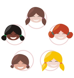 happy mulicultural girls group vector image vector image