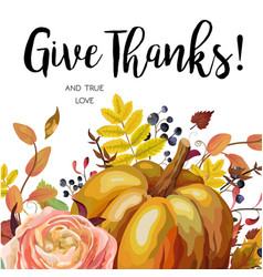 Happy thanksgiving floral watercolor style hand vector