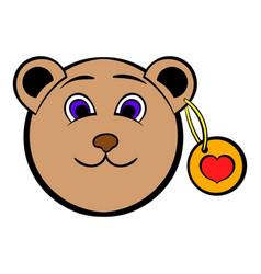 Head of a teddy bear with a heart label icon vector