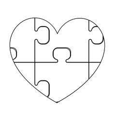 Heart with puzzle the black color icon vector