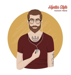 Hipster style template vector