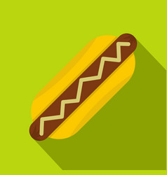 Hot dog with mustard icon flat style vector