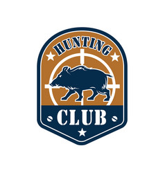 Hunting club shield badge with wild boar vector