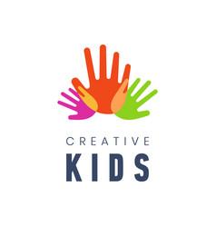kids creative template logo vector image
