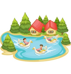 Kids in the lake vector image vector image