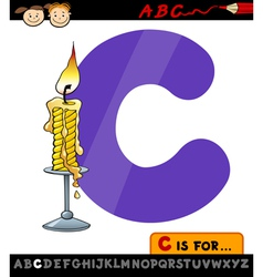 letter c with candle cartoon vector image