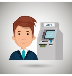 Man atm money credit vector