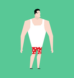 Man in briefs and singlet isolated guy before vector