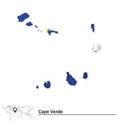 Map of Cape Verde with flag vector image vector image