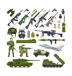 Military army flat icons vector image vector image