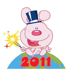 New years rabbit cartoon vector image vector image