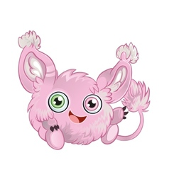Pink fluffy little animal vector