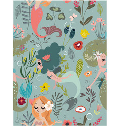 Seamless pattern with cartoon mermaids and flowers vector