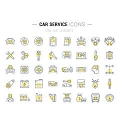Set Flat Line Icons Car Service vector image