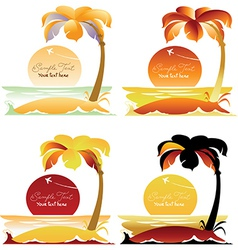 Set of Tropical landscapes with palm trees vector image