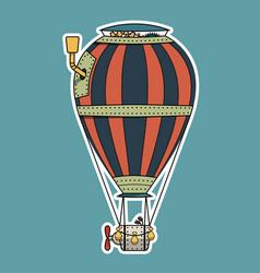 steampunk colorful hot air balloon vector image vector image