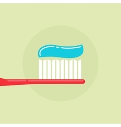 Toothbrush with toothpaste vector image vector image