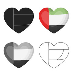 United arab emirates heart icon in cartoon style vector