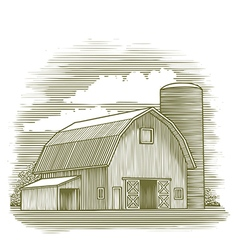 Woodcut Old Barn vector image