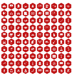 100 asia icons hexagon red vector