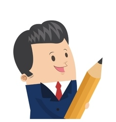 Cute businessman holding pencil icon vector