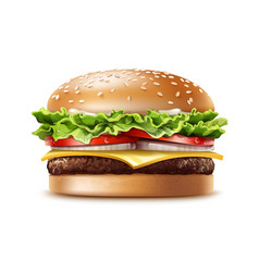 Realistic hamburger fast food vector
