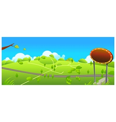 Road and small path over green landscape vector