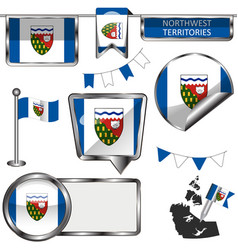 glossy icons with flag of province northwest vector image