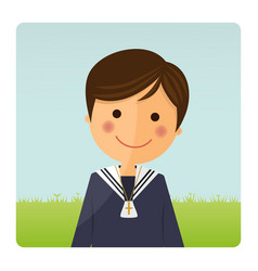 First communion child foreground on blue sky vector