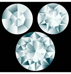 Three round diamond cuts vector