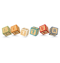 Word letter written with alphabet blocks vector