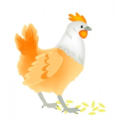 Fowl hen and strewn grain vector