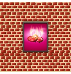 Paintings with glowing hearts on a brick wall vector
