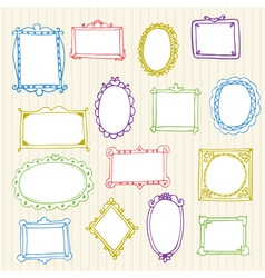 Set of hand drawn frames hand drawn design vector