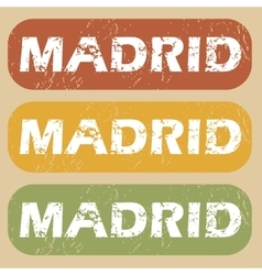 Vintage madrid stamp set vector