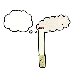 Cartoon cigarette with thought bubble vector