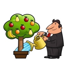 Watering the fruit tree vector