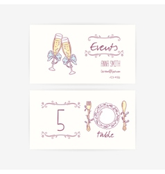 Set of hand wedding card templates vector