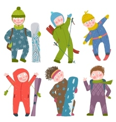 Skier snowboarder winter clothes sport kids vector