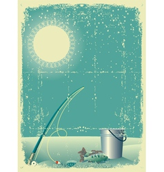Fishing in winter snow vector