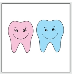 Two teeth smile background vector