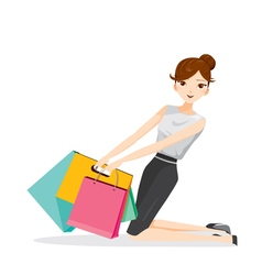 Woman holding shopping bags sitting on floor vector